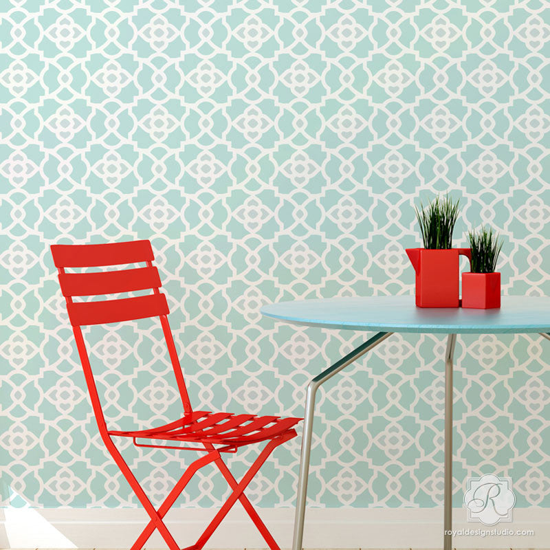 Kitchen Makeover using Bright, Bold, and Geometric Wall Stencils - Mamounia Moroccan Trellis Wall Stencils - Royal Design Studio