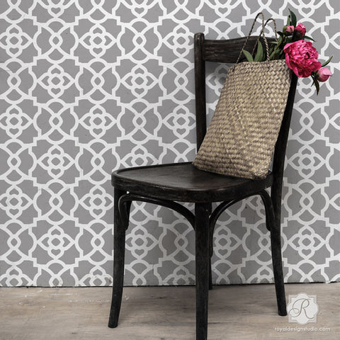 exotic and geometric designs for accent walls mamounia moroccan trellis wall stencils royal design - Design Stencils For Walls