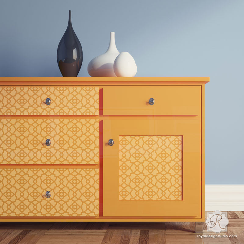 Painted Furniture Designs and Moroccan Decor - Mamounia Moroccan Trellis Furniture Stencils - Royal Design Studio