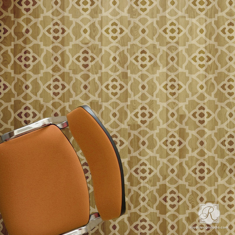 Painted Floor Stencils with Large Geometric Pattern - Mamounia Moroccan Trellis Wall Stencils - Royal Design Studio