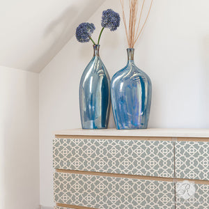 Painted Dresser Drawers with Geometric Patterns - Mamounia Moroccan Trellis Furniture Stencils - Royal Design Studio