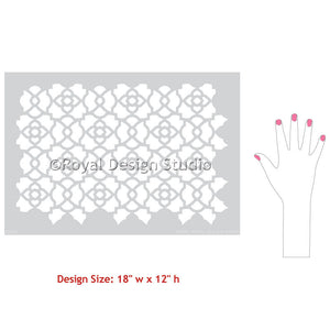 Furniture Makeover Projects using DIY Stencils - Mamounia Moroccan Trellis Furniture Stencils - Royal Design Studio