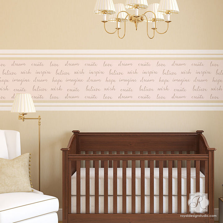 Inspirational Wall Quotes in Girls Nursery Decor - Dream On Lettering Wall Stencils - Royal Design Studio