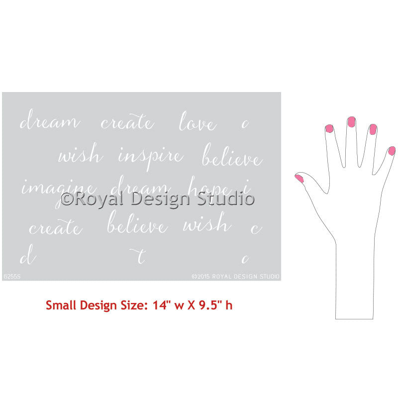 Decorate Painted Furniture with Modern Typography Designs - Dream On Lettering Furniture Stencils - Royal Design Studio