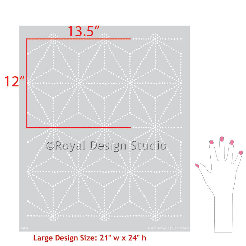 DIY Dotted Tie Dye Pattern in Asian Home Decor - Shibori Japanese Wall Stencils - Royal Design Studio