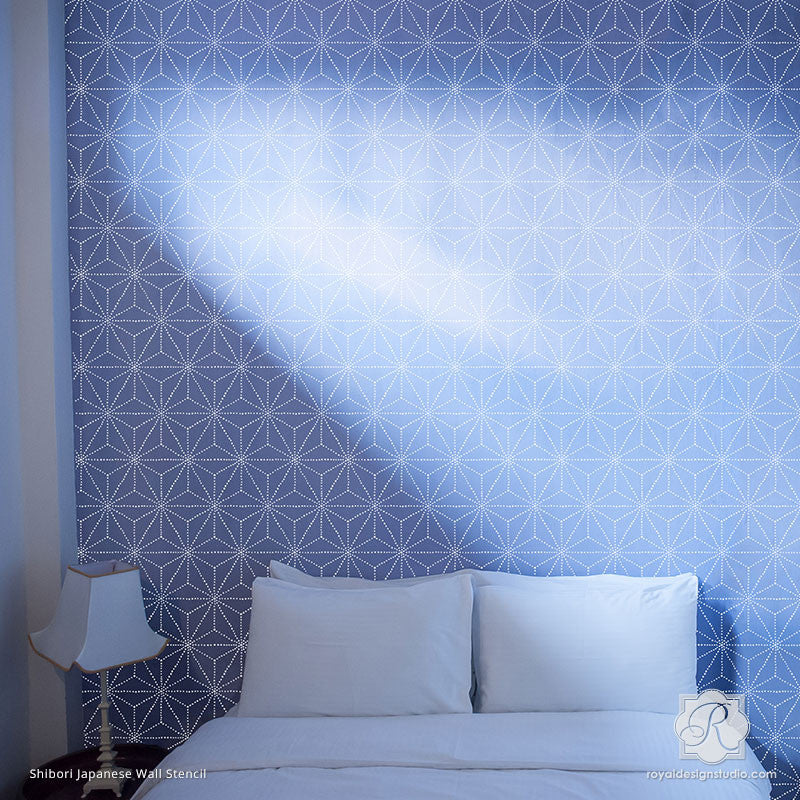 Painting Modern and Geometric Patterns for Asian Wall Decor - Shibori Japanese Wall Stencils - Royal Design Studio