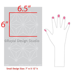 Upcycle Furniture with Asian Style and Geometric Patten - Shibori Japanese Furniture Stencils - Royal Design Studio