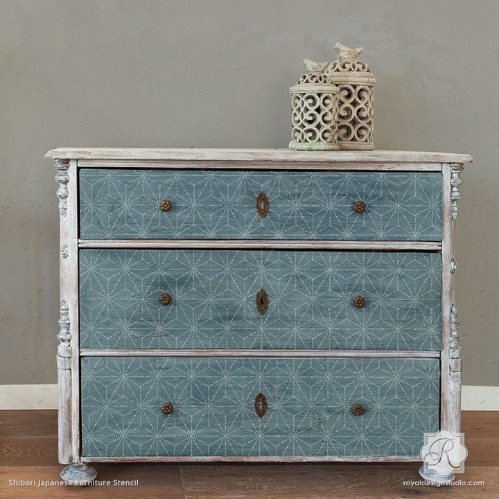 Painted Dresser Drawers with Geometric and Modern Asian Pattern - Shibori Japanese Furniture Stencils - Royal Design Studio