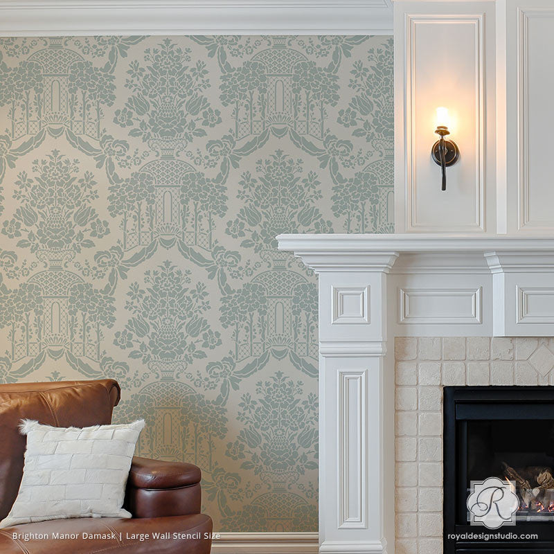 Painting Classic European Designs on Accent Wall - Brighton Manor Damask Wall Stencils - Royal Design Studio