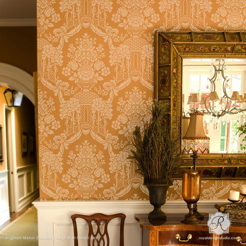 traditional home decor decorated with large damask patterns brighton manor damask wall stencils royal - Royal Home Decor