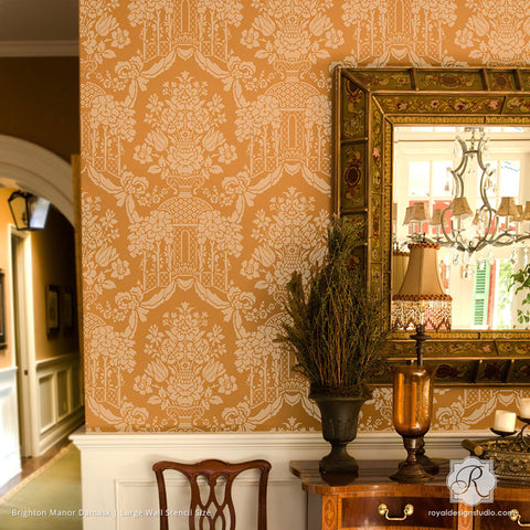 Traditional Home Decor Decorated With Large Damask Patterns   Brighton  Manor Damask Wall Stencils   Royal