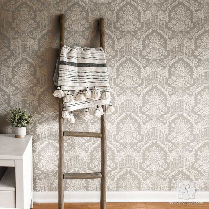 Modern Farmhouse Decorating Ideas - Large Wallpaper Damask Wall Pattern - Brighton Manor Wall Stencils - Royal Design Studio
