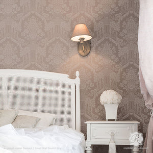 Romantic and Elegant Bedroom Decorating Ideas with Stenciled Walls - Brighton Manor Damask Wall Stencils - Royal Design Studio