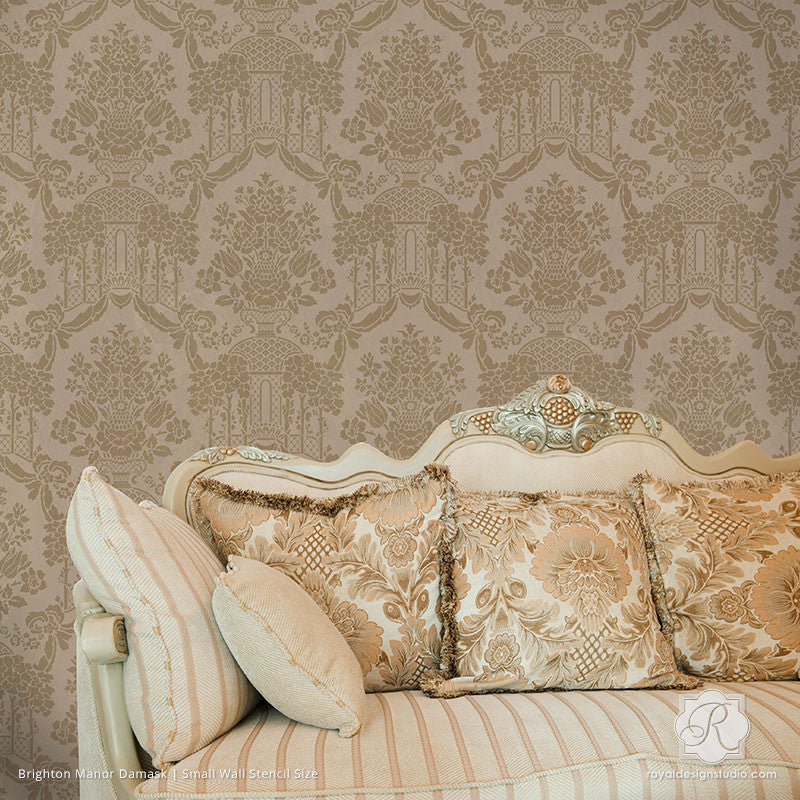 Large Wallpaper Pattern for Victorian Home Decor - Brighton Manor Damask Wall Stencils - Royal Design Studio