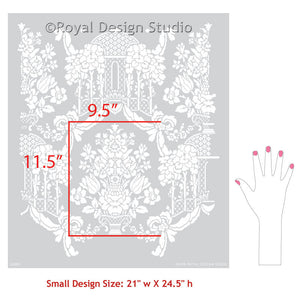 Floral Wallpaper Stencils for Painting - Brighton Manor Damask Wall Stencils - Royal Design Studio