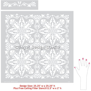 Allover Faux Tiles Design Painted on Walls and Floors - Marisol Damask Tile Stencils - Royal Design Studio
