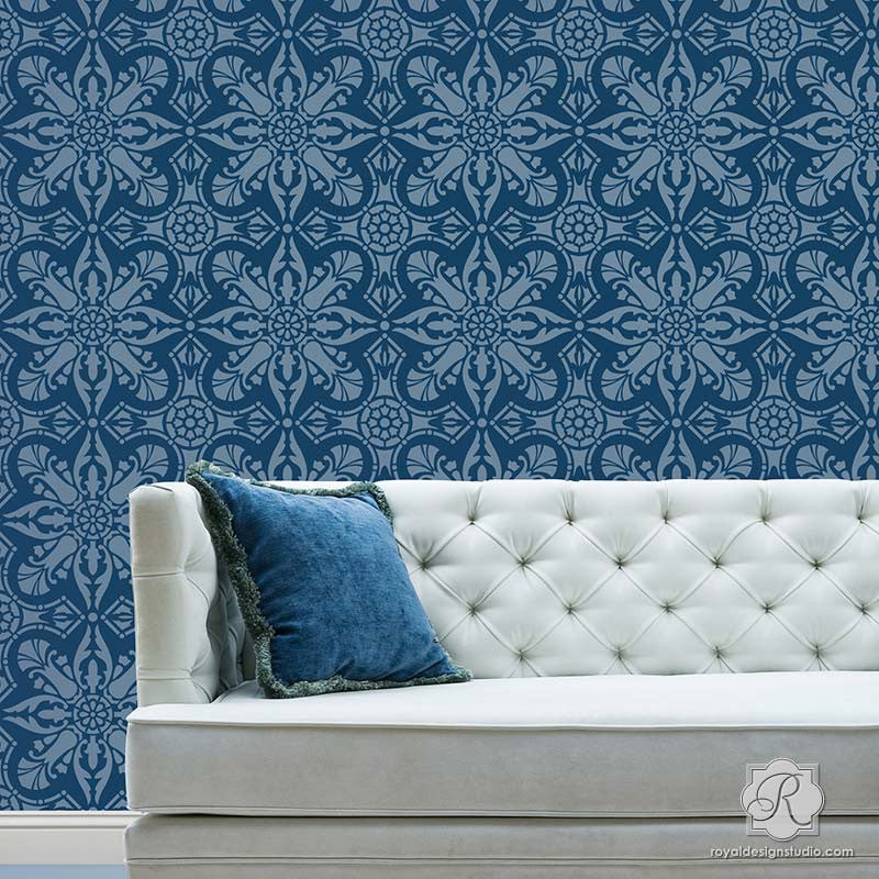 Blue Wall Stencil with European & Spanish Tiles Design for Living Room Makeover - Marisol Damask Tile Stencils - Royal Design Studio