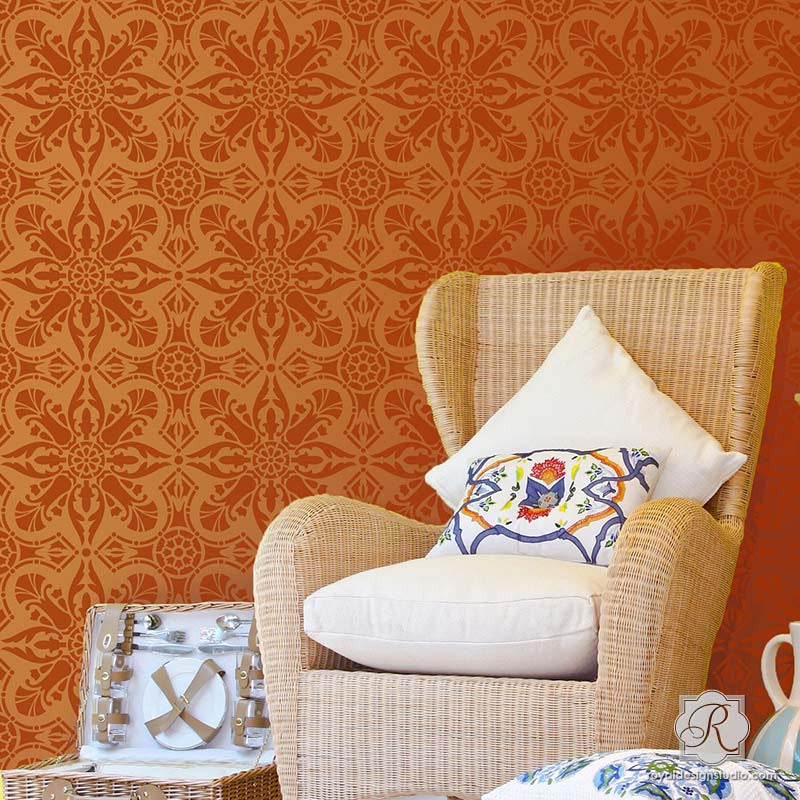 Wall Stencils, Floor Stencils, and Tile Stencils to Paint Allover Pattern on Home Decor - Marisol Damask Tile Stencils - Royal Design Studio