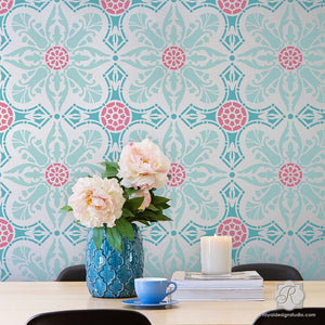 Colorful Wallpaper Look Painted & Stenciled on Walls - Easy Room Makeover Idea - Marisol Damask Tile Stencils - Royal Design Studio