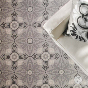 DIY Painted Floor Makeover with European & Spanish Designs - Marisol Damask Tile Stencils - Royal Design Studio