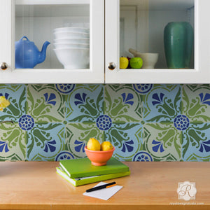 DIY Decor Idea with Painted Faux Tile Floor Patterns - Majorca Tile Stencils - Royal Design Studio