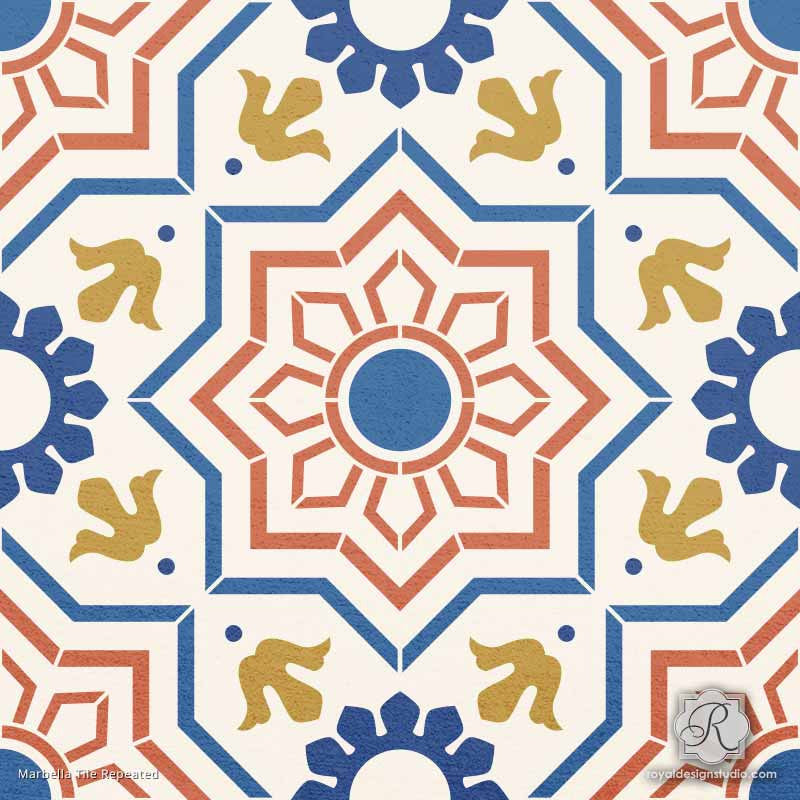 painted tile designs. Decorative Faux Painted Tile Design For Wall Murals And Floor Makeovers - Marbella Stencils Designs U