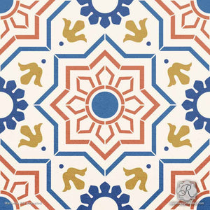 Decorative Faux Painted Tile Design for Wall Murals and Floor Makeovers - Marbella Tile Stencils - Royal Design Studio