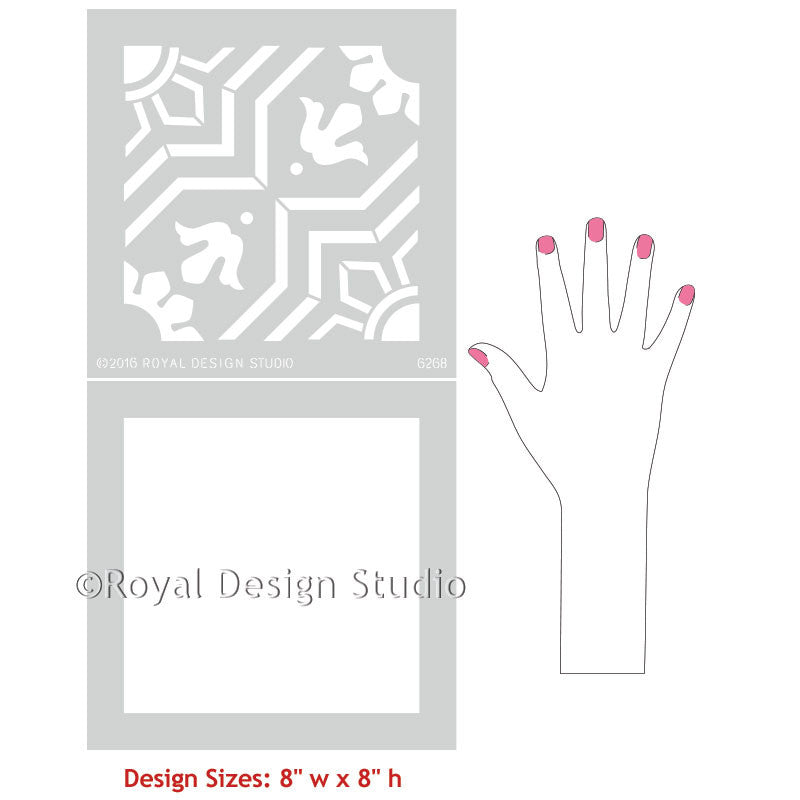 Spanish Tile Designs for Painting Pattern on Walls and Floors - Marbella Tile Stencils - Royal Design Studio
