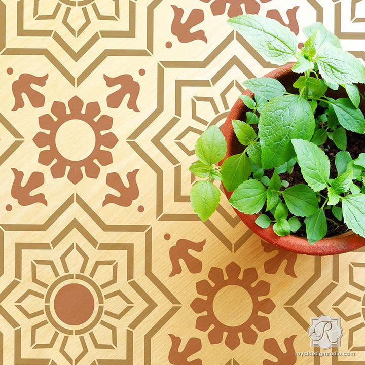 Geometric Decorative Faux Painted Tile Design for Wall Murals and Floor Makeovers - Marbella Tile Stencils - Royal Design Studio