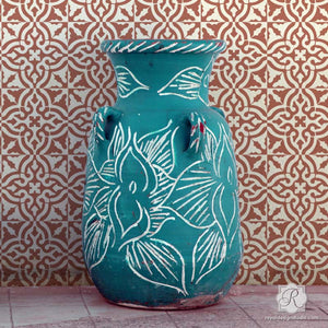 Geometric Spanish Tile Designs for Painting Pattern on Walls and Floors - Toledo Tile Stencils - Royal Design Studio