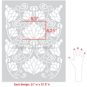 Painting and Stenciling Walls with Flower Wallpaper Patterns - Lotus Paradise Floral Wall Stencils - Royal Design Studio