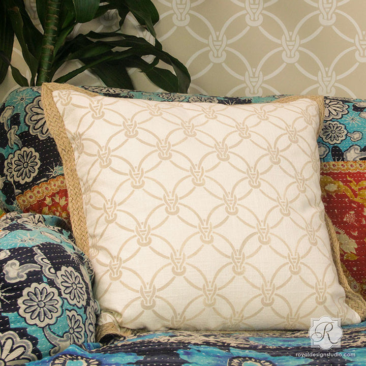Painted DIY Pillows and Fabric with Small Furniture Stencils - DIY Macrame Woven Texture Look - Royal Design Studio