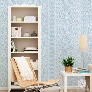 Fabric Weave Texture Effect for Wallpaper Look - Chunky Cable Knit Wall Stencils - Royal Design Studio