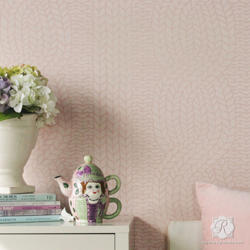 Chunky Cable Knit Wall Stencils - Woven Texture Designs Painting ...
