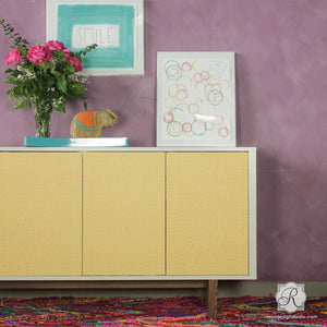 Painted Cabinet with Colorful Woven Texture Design - Chunky Cable Knit Furniture Stencils - Royal Design Studio