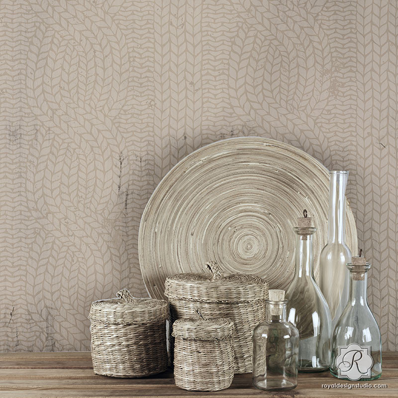 Chunky Cable Knit Furniture Stencils Woven Texture