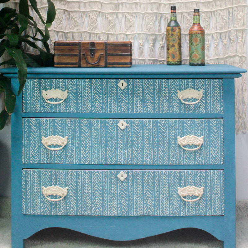 ... Colorful Painted Dresser With Chalk Paint And DIY Texture Design  Funky  Fibers Furniture Stencils ...