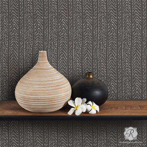 Neutral Gray Texture Wall With Wallpaper Design   Funky Fibers Furniture  Stencils   Royal Design Studio