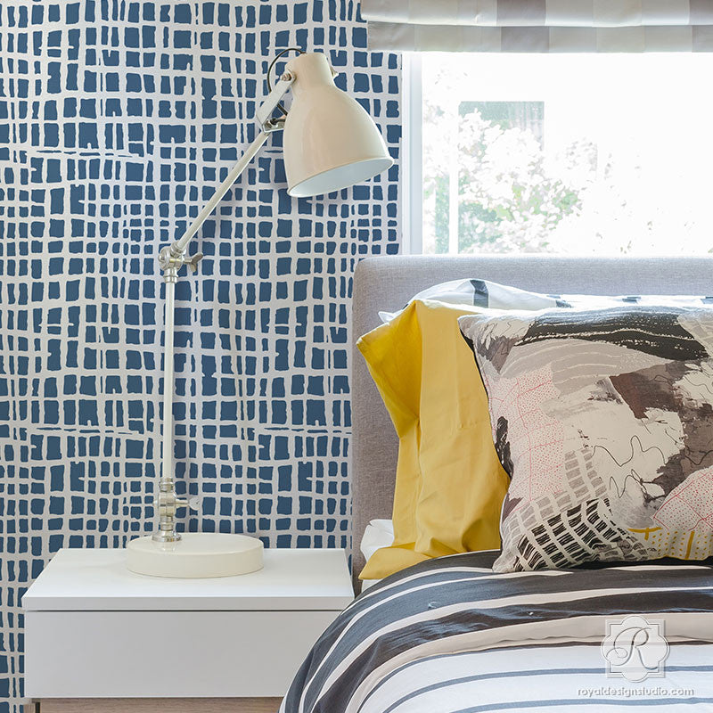 Modern Bedroom Makeover using Large Wallpaper Texture Wall Designs - DIY Loose Weave Wall Stencils - Royal Design Studio