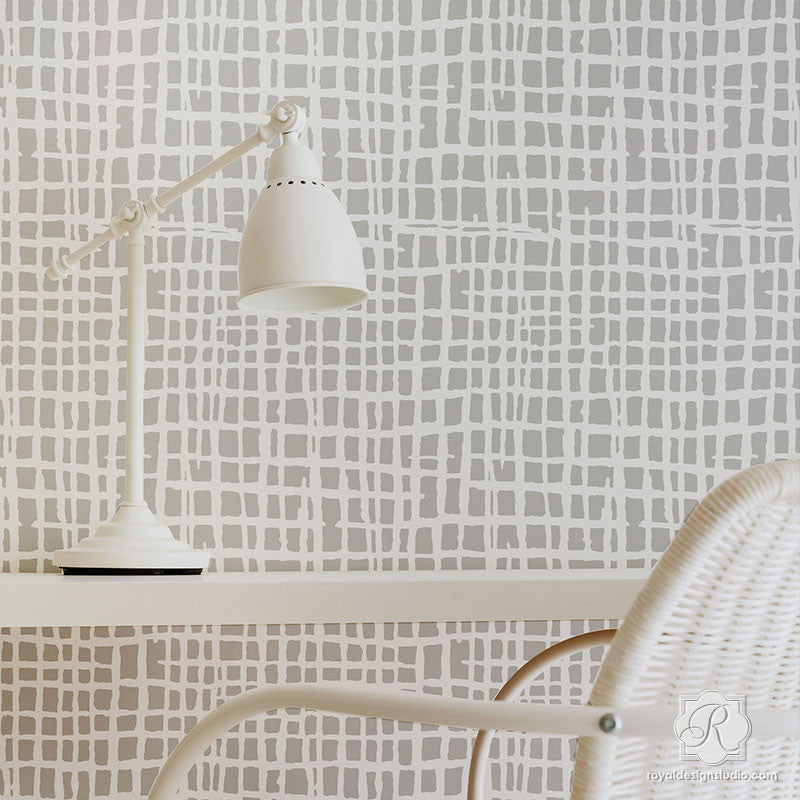Silver and Gray Modern Weave Texture Painted on Accent Walls - Loose Woven Wall Stencils - Royal Design Studio