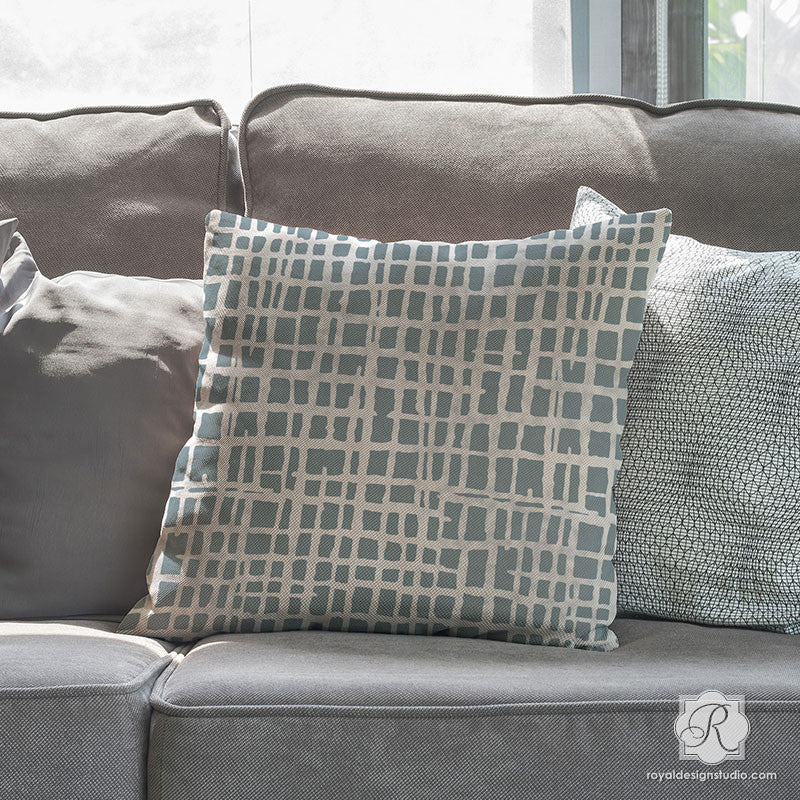 DIY Painted Pillows with Modern Texture Design - Loose Weave Furniture Stencils - Royal Design Studio