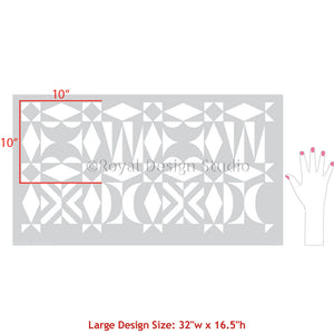 Modern Tribal Wall Pattern and Midcentury Modern Wall Stencils - Royal Design Studio