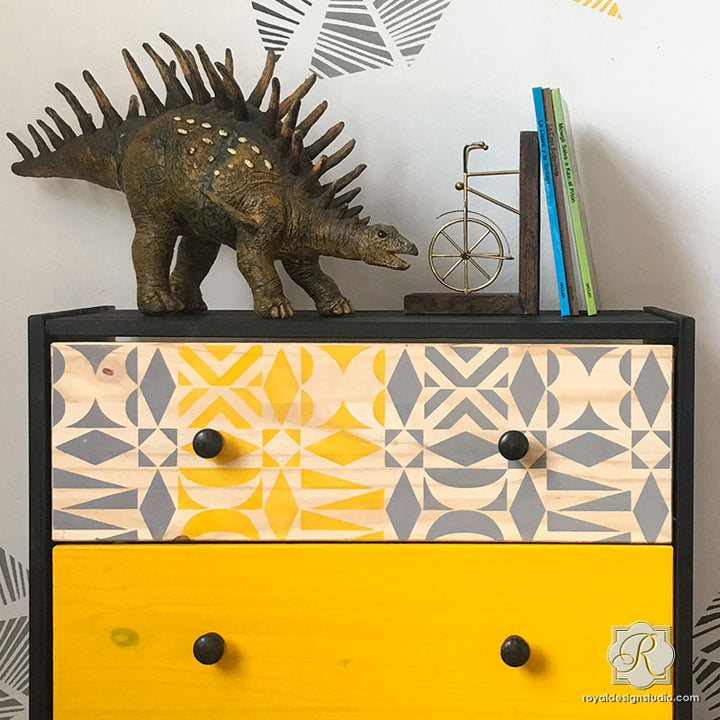 Midcentury Modern Ikea Hack Dresser Drawers Idea - DIY Modern Tribal Furniture Stencils - Royal Design Studio