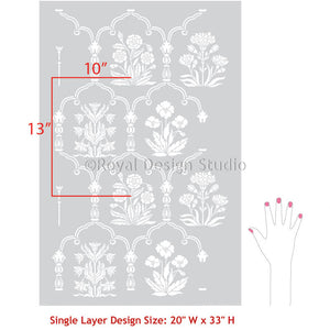 Indian Persian Moroccan Wall Art - Floral Trellis Wallpaper Wall Stencils - Royal Design Studio