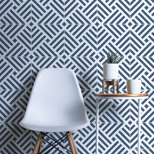 Blue and White Modern Wallpaper - DIY Tile Wall Stencils - Tiled Wall Art Stencils - Royal Design Studio