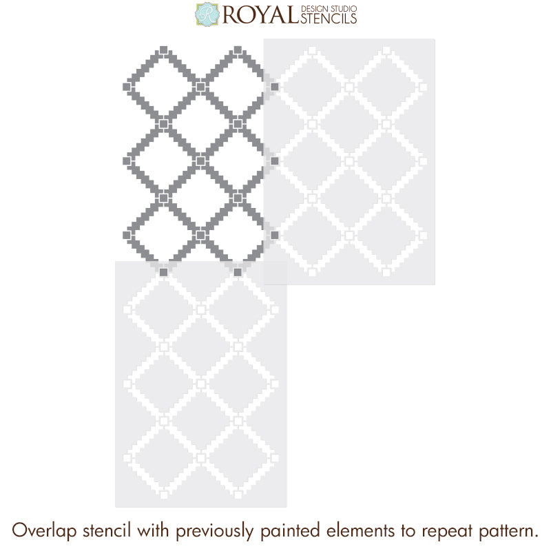 Black and White Tile Floors - Tiled Floor Stencils - Large Modern Tile Stencils for Painting - Royal Design Studio