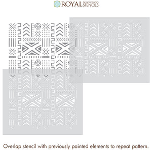 Mali Mudcloth Furniture Stencil - African Style Mud Cloth Batik Furniture Pattern - Tribal Furniture Design Stencils for Painting - Royal Design Studio