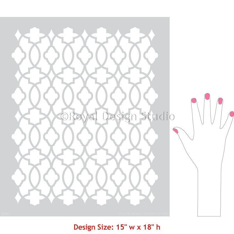 Moroccan, Turkish, Indian Trellis Furniture Stencil - Bohemian Stencils - Boho Style DIY Decor - Royal Design Studio Stencils