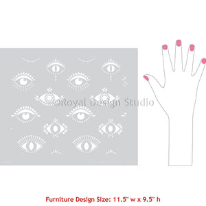 Protective Eyes Furniture Design - Evil Eye Moroccan Stencil - All Seeing Eye Furniture Stencil - Bohemian Decor Stencils - Royal Design Studio
