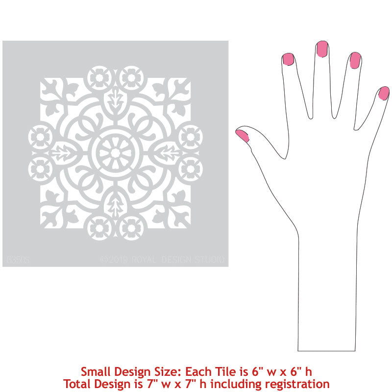 Geometric Pattern Tile Stencils For Floors Or DIY Kitchen